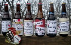 Decorate bottles of your guys favorite beer with cute love notes for a DIY Valentine gift that he will love.  Could do this for his Birthday too!