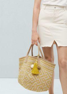 Mango Women's Jacquard Jute Bag, Yellow, One Size