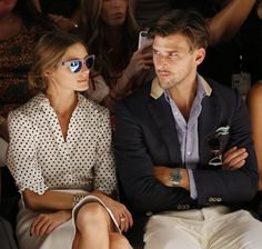 Olivia Palermo and Johannes Huebl attend the Rachel Zoe fashion show on September 11, 2013 in NYC