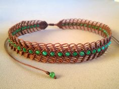 macrame necklace / choker with green cat eye beads