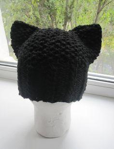 Knitted Black Cat Hat Hand knit Cat Ear Hat Womens от NatalyZigZag