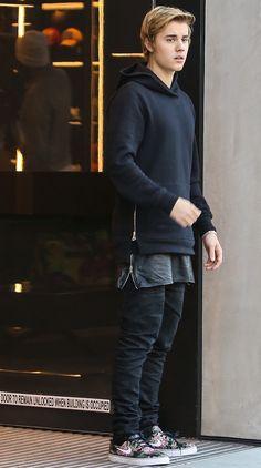 Justin-Bieber-wears-John-Elliott-hoodie-and-Nike-Sneakers-Shoes-1