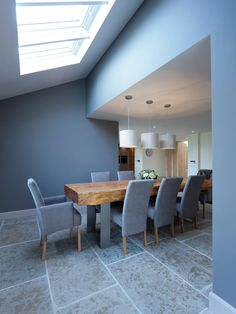 Large organic wood and stainless steel dining table with felt pendant lights - Janey Butler Interiors Stainless Steel Dining Table, Interior Design And Construction, Dinning Table, Dining Room, Barn Renovation, Timber House, Open Plan Living, House Rooms, Interior Architecture