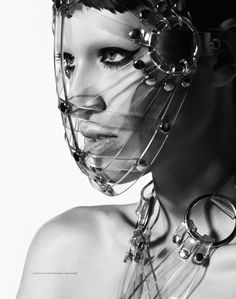 Margaux Brooke styled in the Zana Bayne 'Woven Face Mask' & 'Chevron Harness' in clear PVC for Treats! Magazine, Styled by Kat Lozhnikova, Photo by Ben Cope