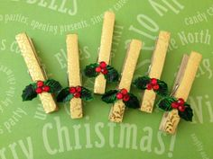 Bamboo Clothes Pins Christmas Ornament Paper Pin