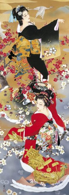 Art by Haruyo Morita Japanese Painting, Chinese Painting, Chinese Art, Japanese Prints, Japanese Design, Tattoo Aquarelle, Asian Cards, Geisha Art, Art Asiatique