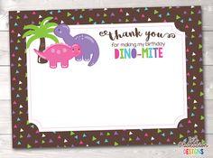 Dinosaur Girls Birthday Party Thank You Cards Girl Dinosaur, Dinosaur Design, Dinosaur Birthday Party, Girl Birthday, Printable Thank You Cards, Dinosaurs, Printables, Frame, Mandalas