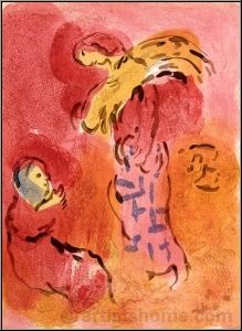 Marc Chagall: Ruth Gleaning, 1960, Illustrations for The Bible, Original Lithograph | Graphic Works | Prints