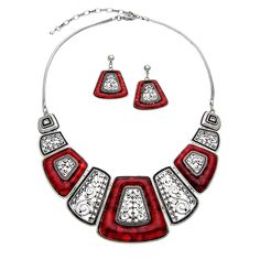 PammyJ Silvertone Rectangular Statement Necklace and Earring Set, 16'   2' Ext. -- Check out this great article. #JewelryLover