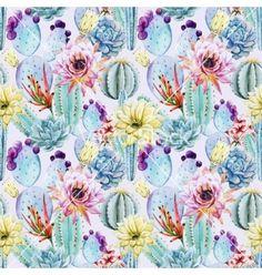 Cactus seamless patterns on VectorStock