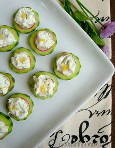 Fresh mint, fresh chopped chives, lemon zest and cayenne pepper are a complex combination for this summer appetizer. Cucumber slices with herbed cream cheese will be a refreshing addition to any get-together.