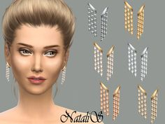 The Sims Resource: Triple strand earrings by NataliS • Sims 4 Downloads