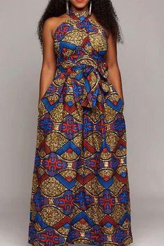 cc8d5e9c2633 Sleeveless Stand Collar Lace-Up High Waist Women s Maxi Dress