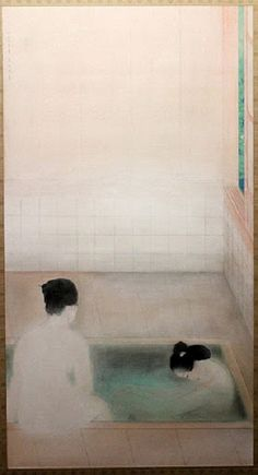Hot Spring, 1921 Kobayashi Kokei aww a japanese soaking tub! Bokashi, Japanese Painting, Chinese Painting, Japanese Prints, Japan Art, Japanese Culture, Hot Springs, Chinese Art, Figurative Art