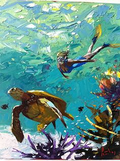 Water World by Peter Vey. This Key West palette knife artist has s a love of the spontaneity that makes his realist work so strikingly fresh. Underwater Painting, Hawaiian Art, West Art, Guache, Tropical Art, Beach Art, Pictures To Paint, Art Forms, Les Oeuvres