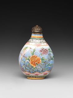 Snuff Bottle with Peony and Bird (enamel)