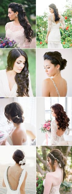 28 Gorgeous Hairstyles for Brides with Dark Hair - Effortless & Natural