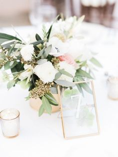Acrylic gold framed table numbers: http://www.stylemepretty.com/2016/09/17/all-white-franciscan-gardens-wedding/ Photography: Ether and Smith - http://etherandsmith.com/