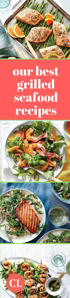 From shrimp recipes to salmon recipes, you'll find your favorite way to celebrate the season with seafood on the grill. Salmon Recipes, Seafood Recipes, Grilling Recipes, Cooking Recipes, Clean Eating, Healthy Eating, Healthy Food, Grilled Seafood, Healthy Summer Recipes