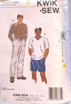 Kwik Sew Pattern 2687 Men's Pants Shorts Shirts Sizes S M L XL XXL #KwikSew