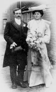 There are groom and bridge in their wedding . The bridge was holding a bouquet of flowers , such as bridge nowaday . The groom wore an elegant suit . They seem to be high level in society at this time