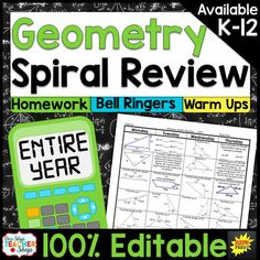 This High School Geometry spiral review resource can easily be used as spiral math HOMEWORK, spiral math WARM UPS, or a DAILY MATH REVIEW! This spiral math review was designed to keep math concepts fresh all year and to simplify your homework or warm up routines.