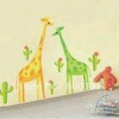 Green and yellow giraffe wall decor