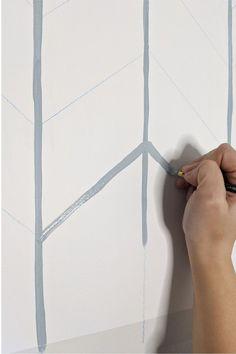 DIY Herringbone Wallpaper   Easy Hand Painted Wallpaper