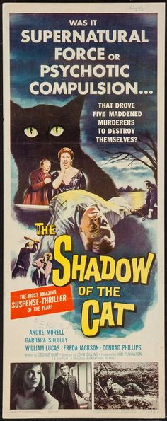 "Movie Posters:Horror, The Shadow of the Cat (Universal International, 1961). Insert (14""X 36""). Horror.. ... Image #1"