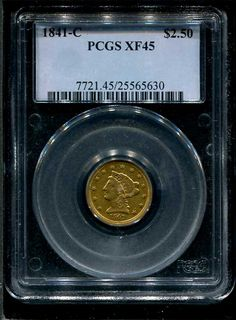 1841-C $2.50 Gold PCGS EF45 -$2860.00 - Rare Charlotte Mint Gold at www.brokencc.com