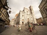 Piazza di Santa Maria del Fiore: Where you look up and up and up at the beautiful Campanile and Brunelleschi's dome and when you climb to the top of the dome you can see all over Tuscany. A beautiful place to sit and eat a gellato on a spring evening in Italy.