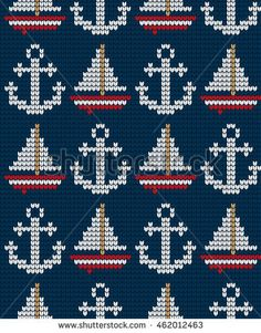 Find Knitted Marine Seamless Pattern stock images in HD and millions of other royalty-free stock photos, illustrations and vectors in the Shutterstock collection. Fair Isle Knitting Patterns, Knitting Charts, Knitting Designs, Knitting Stitches, Crochet Patterns, Cross Stitch Cards, Cross Stitching, Cross Stitch Embroidery, Crochet Cross