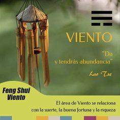En Feng Shui el área de Viento se relaciona con la suerte, la buena fortuna y la riqueza. No obstante hay que entender esta energía no sólo con el dinero o los bienes materiales sino también con la facilidad para conseguir lo que deseamos, oportunidades, invitaciones, amigos o tiempo libre entre otros.
