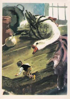 "Postcard Illustration by Kanevsky - Selma Lagerlof ""The Wonderful Adventures of Nils"" - 1975. Fine Arts, Moscow"