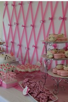 Close up on pink tulle backdrop for hello kitty baby shower dessert table