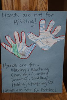 Rhinestones & Pine Cones: Letter of the Week....H is for Hands (and hands are not for hitting!)