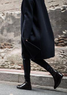 Beau manteau marine et slim cuir noir