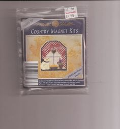 Mill Hill Country Magnet NIP Sealed Cross Stitch Kit Kitty in Window Beading  #MillHill #Magnet
