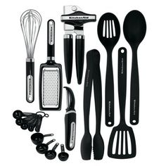 KitchenAid Utensils Kitchen Best Gadgets And Tools Cooking Set Black 17 Piece, Shipping FREE, Item location USA ( Type - Kitchen Utensil Set, Material - Stainless Steel Kitchen Tools And Gadgets, Cooking Gadgets, Cooking Utensils, Cooking Tools, Cooking Spoon, House Gadgets, Cooking Beef, Cooking Fish, Camping Cooking