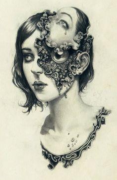 Os surreais desenhos com mulheres em preto e branco de Miles Johnston