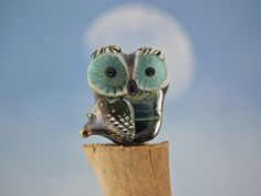Phoebe lampwork owl bead sra by DeniseAnnette on Etsy, $17.00