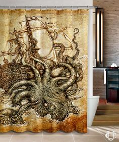 Kraken Steampunk Octopus Sea Shower Curtain With Images