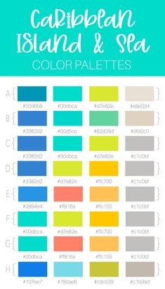 8 Beach, Caribbean, Island and Sea Themed Color Palette Combinations Perfect for designing branding elements for your business, home decor or other projects. Sea Colour, Crazy Colour, Beach Color Palettes, Tropical Bedroom Decor, Turquoise Kitchen Decor, Interior Decorating Styles, Decorating Ideas, Pallet Painting, Colour Board
