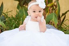 Classic White Lace Christening Gown or Flower Girl Dress