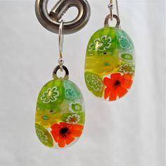 Millefiori fused glass earrings $17