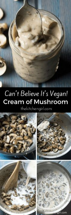 You really WON'T believe it's vegan Cream of Mushroom Soup! Gluten free too! Easy, creamy, perfect for gravy, casserole, stroganoff, and soups. thekitchengirl.com #lowsalt #vegan #vegansoup #creamofmushroom #vegancreamofmushroom #glutenfree #mushroomsoup