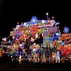 over-the-top holiday lights in Ontario, Canada; holiday home decorations and holiday lights Tacky Christmas Sweater, Merry Christmas To All, Christmas Makes, Christmas Music, Beautiful Christmas, Christmas Home, Christmas Fireplace, Christmas Design, Christmas Stuff