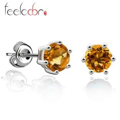 palace gemstone natural citrine earrings stud pure solid genuine 925 sterling silver 2015 brand women fine gift