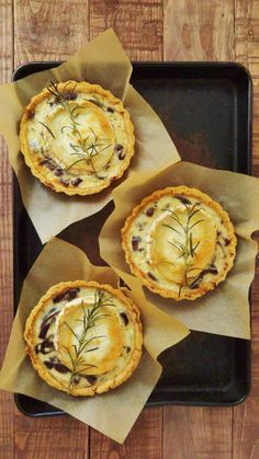Caramelized red onion and goat's cheese tarts