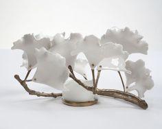 "From R & Company, David Wiseman, ""Ginkgo"" votive candle holder Porcelain, 4 × 8 × 7 in Porcelain Jewelry, Ceramic Jewelry, Sculptures Céramiques, Sculpture Art, Ceramic Pottery, Ceramic Art, Cerámica Ideas, Bijoux Design, Paperclay"